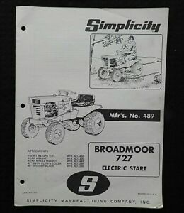 """1969 SIMPLICITY """"BROADMOOR 727 ELECTRIC START LAWN TRACTOR"""" PARTS CATALOG MANUAL"""