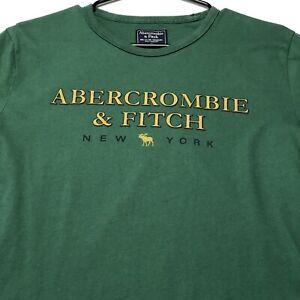 90s-Vintage-Single-Stitch-Abercrombie-Fitch-Adult-Graphic-T-Shirt-Medium-M-Green
