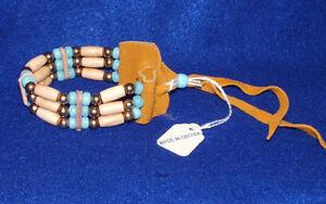 Bracelet Bone Hairpipe Brass & LIGHT BLUE Glass beads on Leather Iroquois