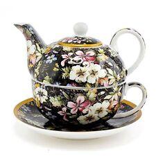 William Kilburn Blossom Tea Set For One Tea Pot Cup Saucer Black Floral Boxed