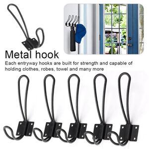 UK 5 x Black Wire Loop Coat Metal Hooks Vintage Wall Clothes Hanger Organizer