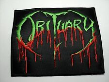 OBITUARY   GREEN  AND RED  LOGO  EMBROIDERED PATCH