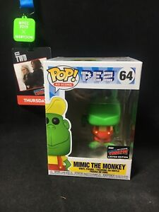 Funko Pop Mimic the Monkey #64 NYCC Exclusive Sticker Pez Ad Icons In Hand