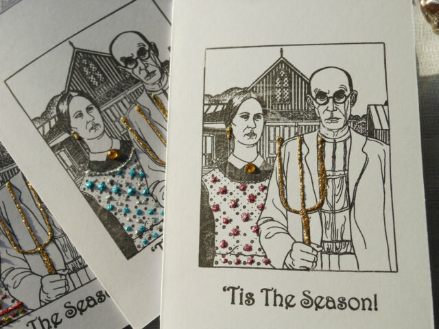1 Handmade American Gothic Christmas Card with glitter