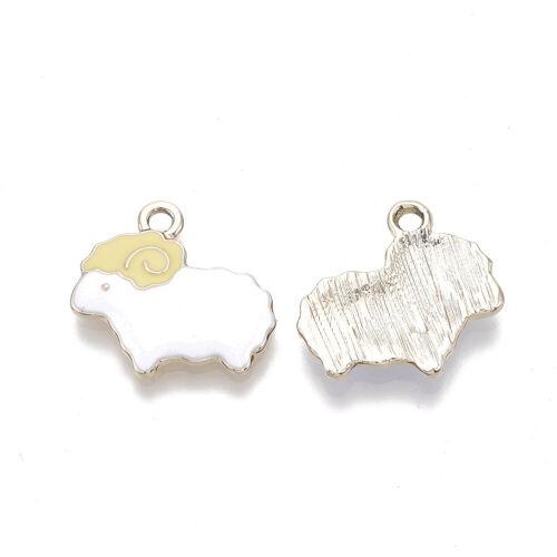 10pcs White Alloy Enamel Pendants Mini Cute Sheep Charms DIY Crafting 19x20mm