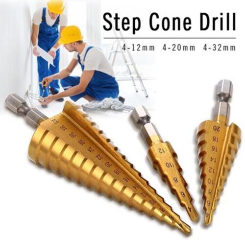 3 pcs 4-12//20//32mm Large HSS Steel Step Cone Drill Titanium Bit Hole Cutter