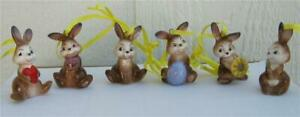 Goebel-Porcelain-Set-of-6-Easter-Bunny-Rabbit-Ornaments-New-with-box-Germany