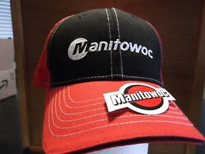 Rare Red Manitowoc Hat and Sticker Oilfield Union Construction Crane ... b948a61d1