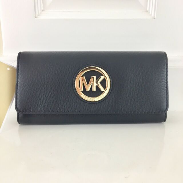 b0f950a8a98d Michael Kors Fulton Flap CONTINENTAL Leather Wallet Black 38s1cfte1l ...