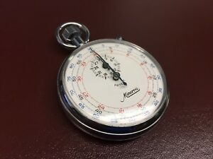 minerva vintage 30 minute stopwatch rare 3 place time markings
