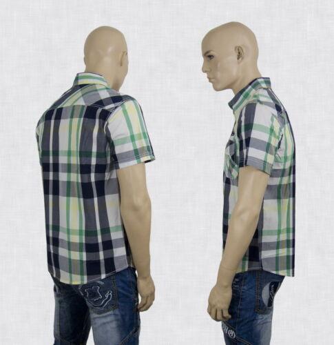 Uomo Camicia Da A Quadri Polo Estate a Quadri a Maniche Corte Verde L XL