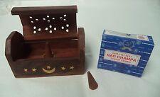 Small Wooden Coffin Incense Burner Brass Inlay & Box & 12 Satya Nag Champa Cones