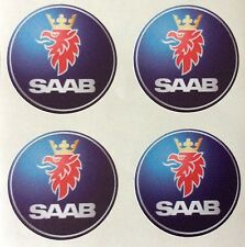4 x Wheel stickers SAAB 50 mm center badge centre trim cap hub alloy