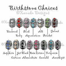 3PCs Baby Giraff Charm And Crystal Birthstone Beads For European Charm Bracelets