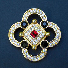 Swarovski Swan Logo Quatrefoil Pin Brooch Rhinestones Channel Set Red Black Gold