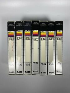 Lot-Of-7-Pre-Recorded-Mix-Label-T-120-VHS-Tapes-Sold-As-Used-Blanks