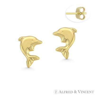 Heart Charm 6mm x 6mm 14k Yellow Gold Stud Earrings Baby Infant Children/'s Studs
