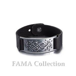 Stylish-FAMA-Black-Leather-Strap-Bracelet-w-Tribal-Symbol-Stainless-Steel-Plate