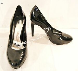 womens mossimo shiny black high heel round toe shoes nwob