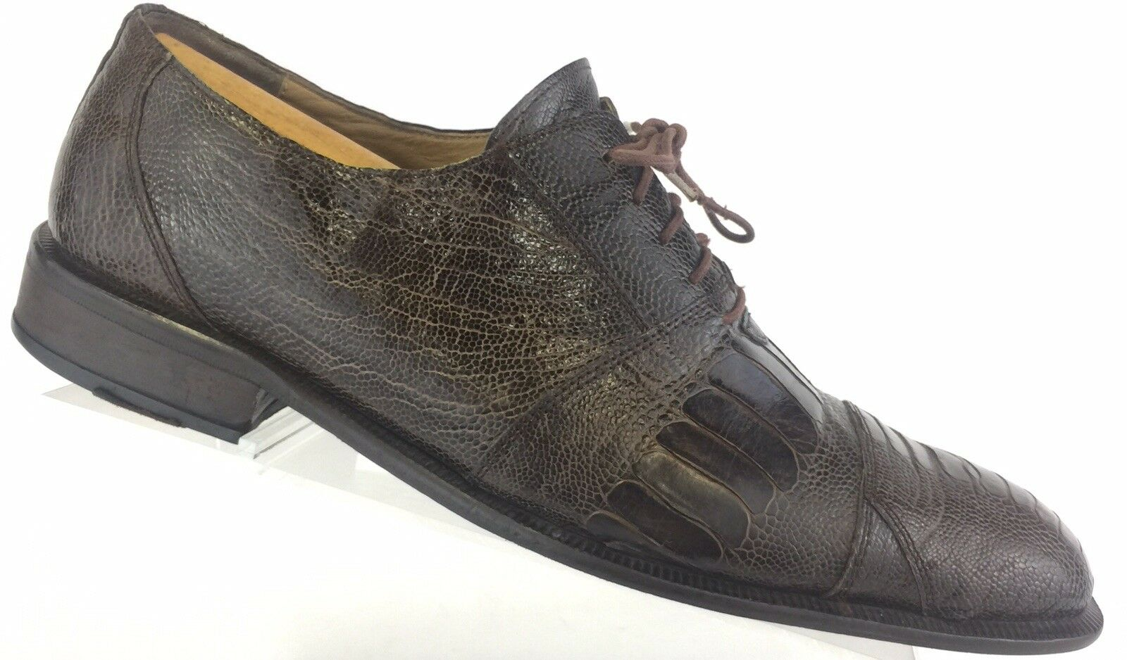 David Eden Exotic Ostrich Leg Oxfords Cap Toe Brown shoes Mens 9.5