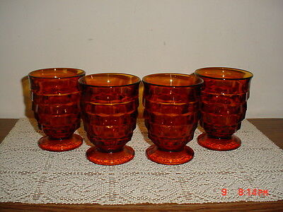 """4-PC INDIANA GLASS CUBE DEEP """"AMBER"""" PEDESTAL 4 1/4"""" TUMBLERS/VINTAGE/CLEARANCE!"""