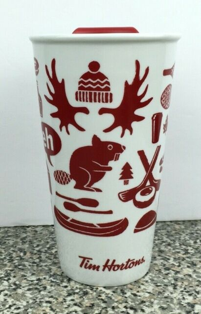 Tim Hortons 2018 Canada Theme Ceramic Coffee Travel Mug Tumbler Cup White Red