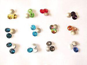 Glassteine Kristall Rivoli 14mm flacher Doppelkegel zum Einkleben und Einfassen