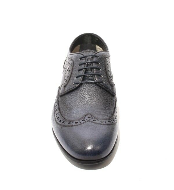 ROBERTO SERPENTINI 44722 Antique Navy Pelle Lace-Up 40 Oxfords Shoes 40 Lace-Up / US 7 401f2f