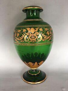 Glass Vase Antique Enamel Paint Gold Decoration Ebay