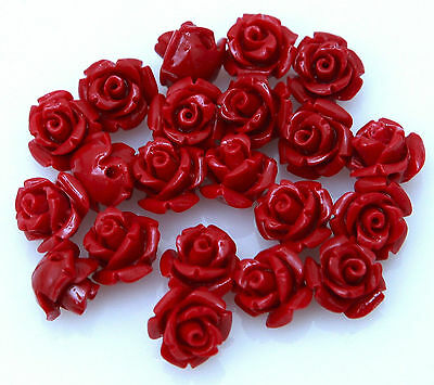 Wholesale 10/12/15mm Gorgeous Rose Flower Coral Resin Spacer Bead 10/20 Pcs
