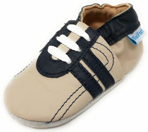 MINIFEET SOFT LEATHER BABY SHOES 0-6,6-12,12-18,18-24 Mths /& 2-3 Yrs TRAINERS