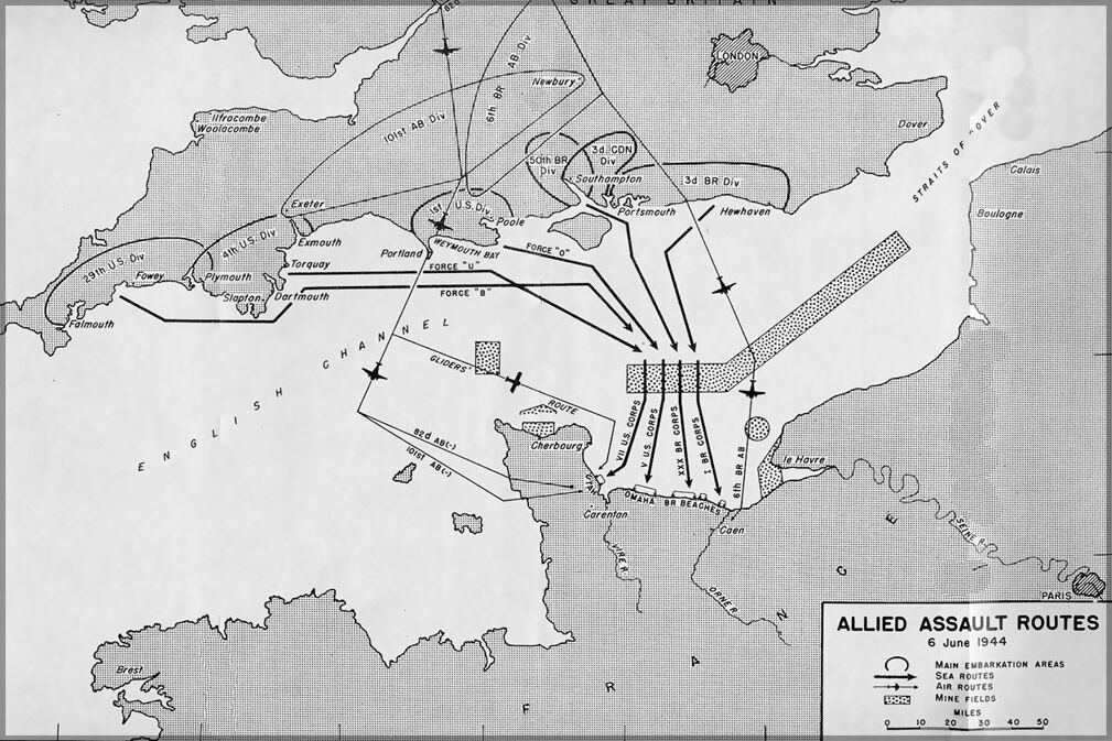 Poster, Many Größes; D-Day Allied Assault Routes Map P2