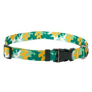 NEW-Green-amp-Gold-Dog-and-Cat-Collar-in-Team-Spirit-Camo-by-Yellow-Dog-Design