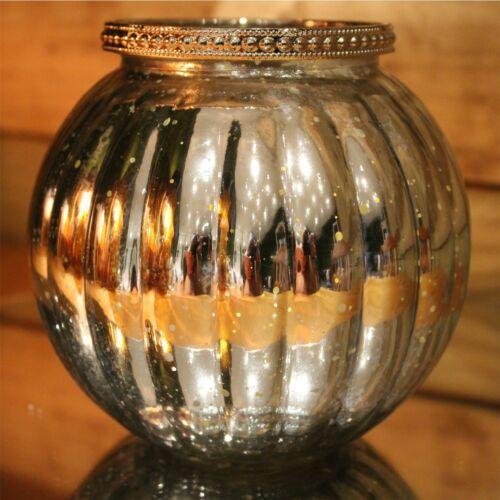 Antique Silver Mercury Effect 13cm x 11.5cm Ribbed Candle Pot Tealight Holder