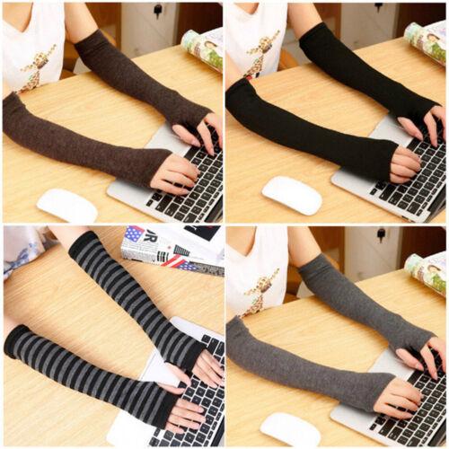 Women Fingerless Cotton Blends Long Gloves Winter Warm Arm Sleeve Mitten