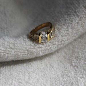 24k Yellow gold plated CZ ring size 4,4 1/4, 5 Made in