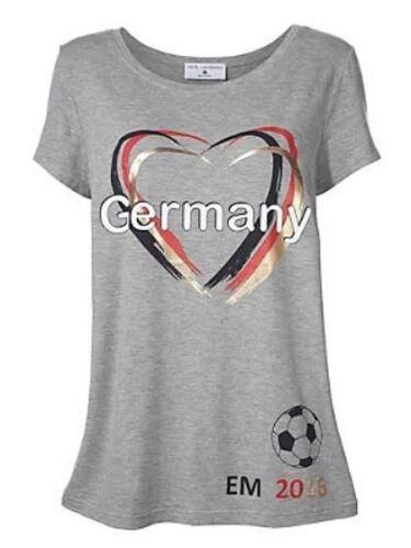 Rick Cardona Damen T-Shirt Germany Fussball EM 2016 Tunika kurzarm grau 004712