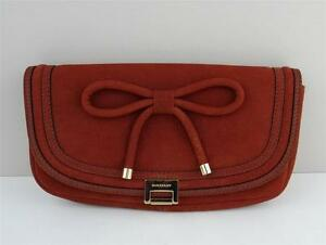 6a7dc3c594a5 NEW Burberry  995 IRIS Suede Leather Bow Clutch Bag Bright Copper