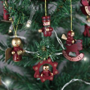 Set Of 12 Christmas Tree Figures Baubles Mini Wooden Xmas