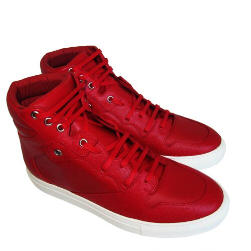 C1626123 New Balenciaga Red Leather Hi Top Sneakers Shoes Size Marked 41 US 8