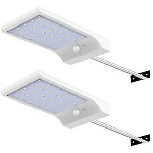 Details about 30 LED Solar Lights Wall Pole Outdoor Motion Sensor Gutter  Light 2Pcs Barn Porch
