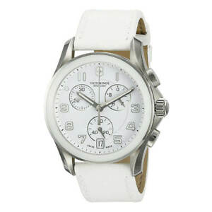 Victorinox-Swiss-Army-Men-039-s-Watch-Chrono-Classic-White-Dial-Leather-Strap-241500