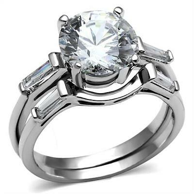 Round /& Baguette CZ accents Wedding Engagement  Promise Stainless Steel Ring
