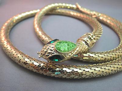 "VTG Snake Belt Necklace Gold Plated Green Rhinestone Bumpy 41"" Whiting Davis"