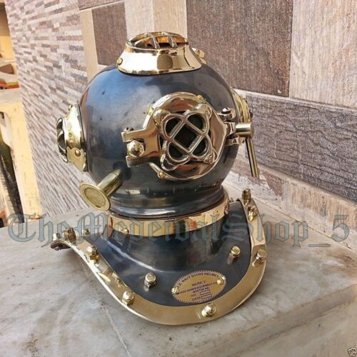 US Navy Mark V Vintage Antique Style Brass Deep Sea Scuba Divers Diving Helmet