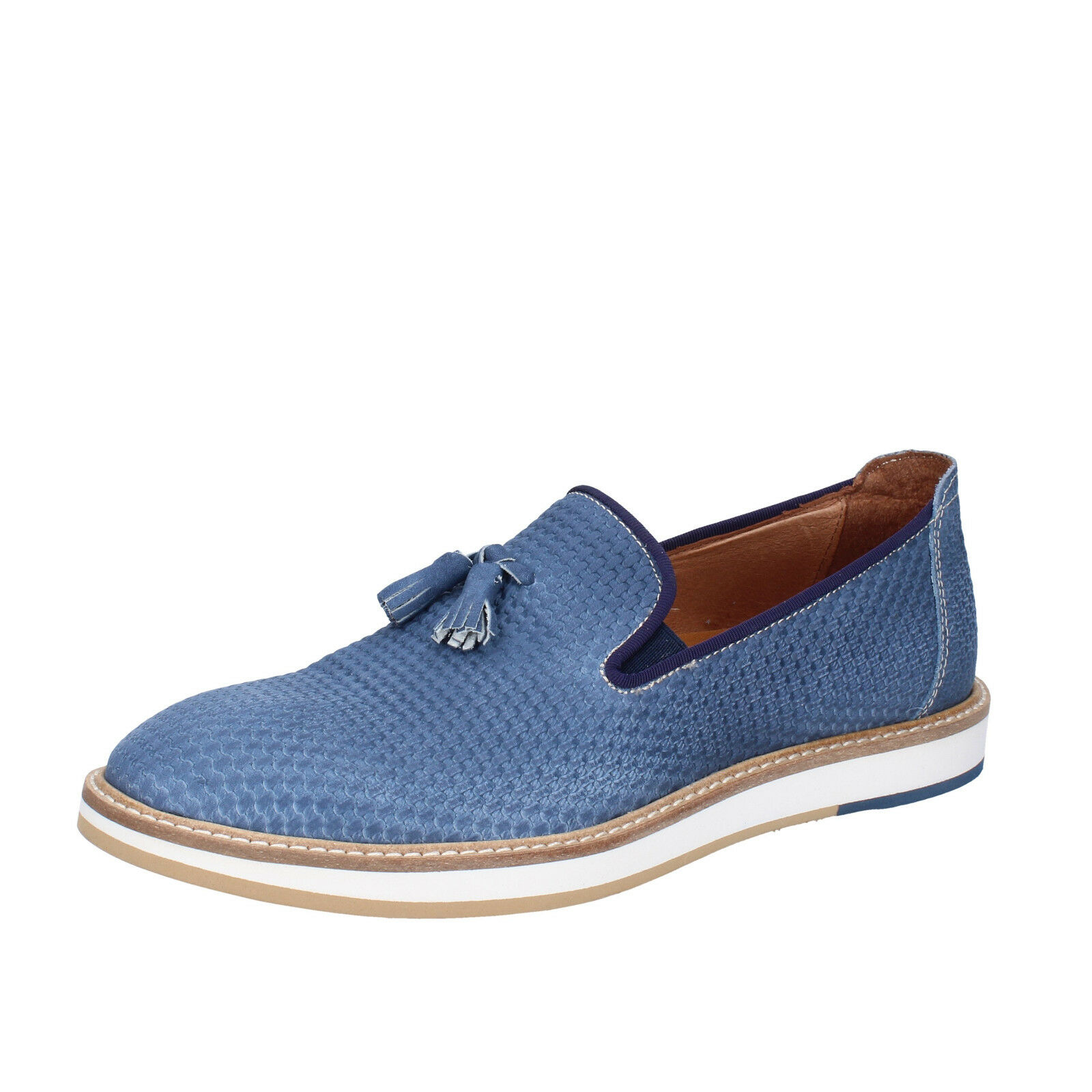 Mens shoes +2 MADE IN ITALY 8 () loafers elegant bluee nabuk BT696-42