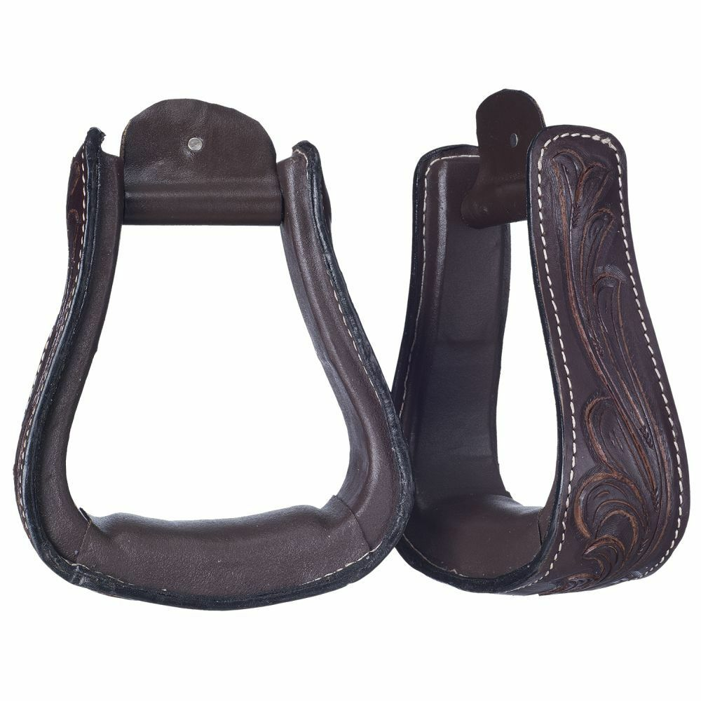Western Light Brown leather  Plain 2.5  Wide Leather Wrapped Stirrups  sale online