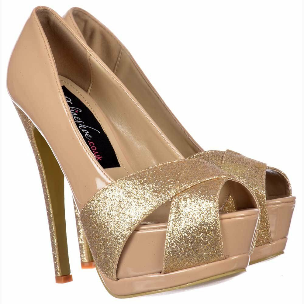 13e200adb3b4 LADIES SPARKLY gold GLITTER TOE STILETTO HEELS SHOE PARTY XMAS PROM3-8 PEEP  NUDE ntkjol5817-Women s Heels