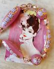 Vintage 1980s Pink & Gold Venetian Murano Glass 56cm Long Necklace