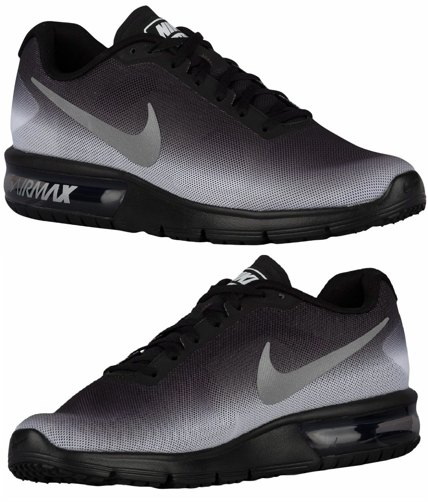 NIKE AIR MAX SEQUENT MEN's M RUNNING BLACK - WHITE - METALLIC SILVER AUTHENTIC
